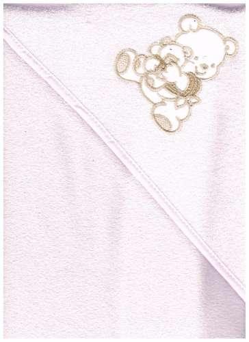 Kapucnis Fürdőlepedő 100x100cm #rózsaszín ölelő maci