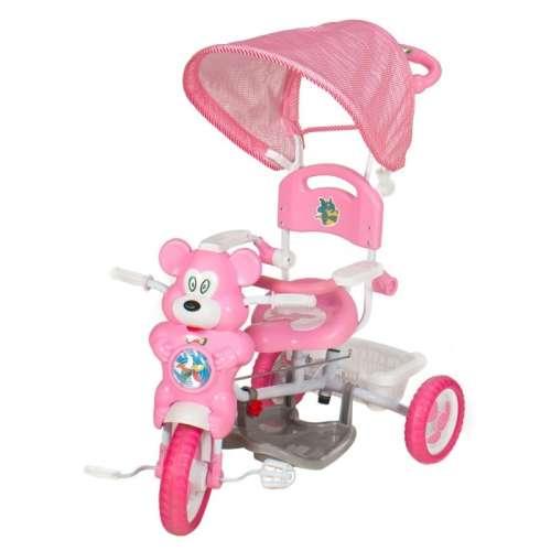 Szülőkormányos Tricikli #rózsaszín maci