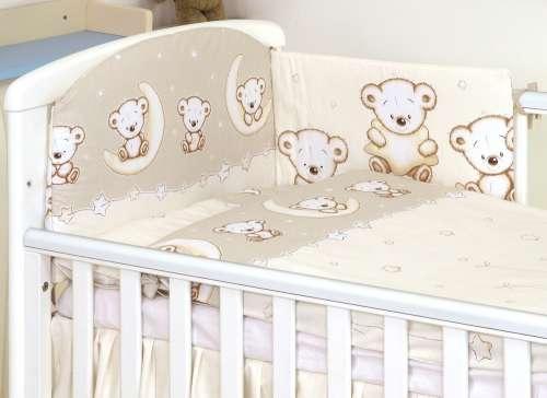 MamaKiddies Baby Bear 5 részes ágynemű 180°-os rácsvédővel #bézs macis mintával
