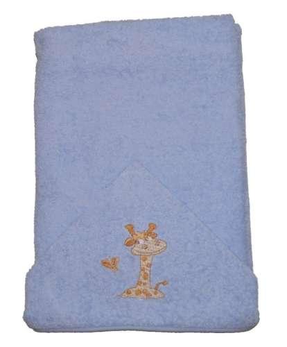 Zsiráfos hímzett babakifogó 75x120cm #kék