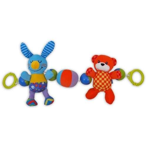 Baby Mix Babakocsicsörgõ plüss - Maci és nyuszi
