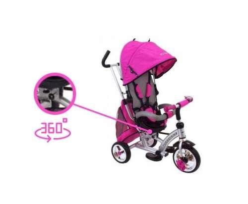 Baby Mix 360 Turbo Tricikli tolókarral és lábtartóval #pink színben 360°-ban forgatható ülés)