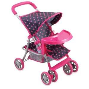 Rózsaszín #fehér pöttyös 6 kerekű baba Babakocsi 30292517