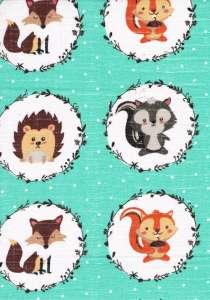 Textil pelenka 1db - Erdei állatok#türkiz 30332179