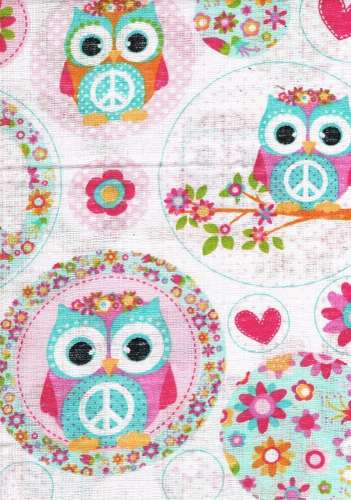1db-os színes,mintás Textil Pelenka #rózsaszín bagoly
