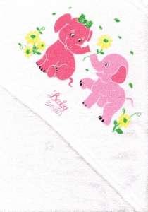 Kapucnis Fürdőlepedő 80x90cm - Elefánt #fehér-rózsaszín