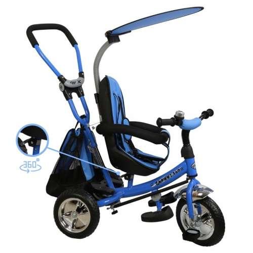 Baby Mix Trike 360 prémium Tricikli tolókarral és lábtartóval #kék