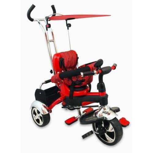 Baby Mix Maxi Trike prémium Tricikli tolókarral sárvédővel és lábtartóval #piros