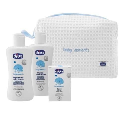 Chicco baby moments set Kozmetikum neszeszer 3 db-os #kék