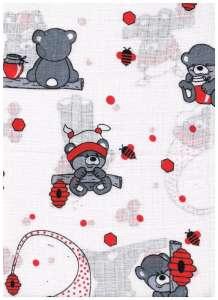 Textil pelenka 1db - Maci #fehér-piros 30332498 Textil pelenka