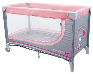Baby Mix fix Utazóágy #rózsaszín-szürke