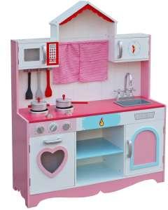 """""""Country"""" fa játék konyha + konyhai felszerelés #rózsaszín 30338500"""