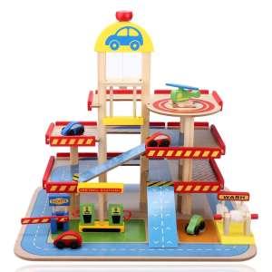 Wooden Toys Garázs színes 30338566 Autós játékok, autó, jármű