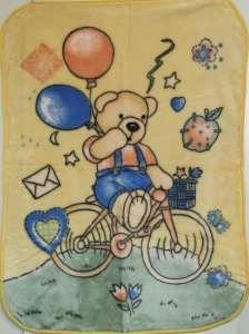 Baba pléd 80x110cm - Biciklis maci  kék 30340424 f95d554eb1