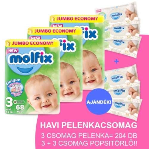 Molfix Havi Pelenkacsomag 3+3 csomag popsitörlővel 4-9kg