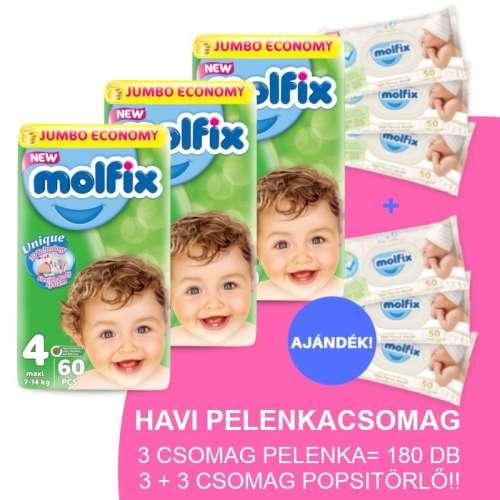 Molfix Havi Pelenkacsomag 3+3 csomag popsitörlővel 7-14kg