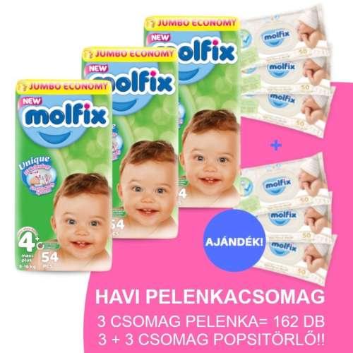 Molfix Havi Pelenkacsomag 3+3 csomag popsitörlővel 9-16kg