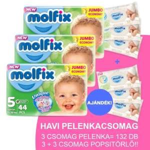 Molfix Havi Pelenkacsomag 3+3 csomag popsitörlővel 11-18kg 30346980