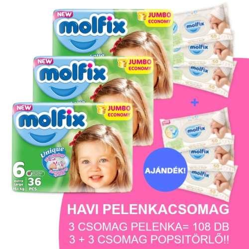 Molfix Havi Pelenkacsomag 3+3 csomag popsitörlővel 15-30kg