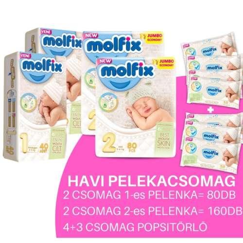 Molfix Havi Pelenkacsomag 4+3 csomag popsitörlővel 2-5kg