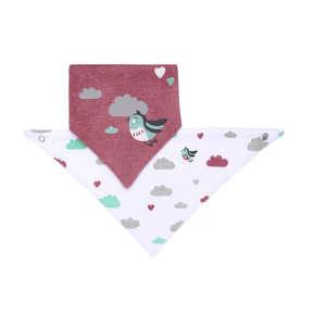 BabyOno háromszög Előke 2db - Madárka #bordó-fehér 30345746 Előke, büfikendő