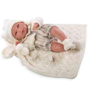LLorens: Újszülött fiú Baba szőrmés takarón 38cm 30376558