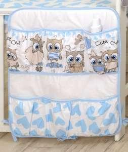 MamaKiddies Baby Bear Zsebes tároló - Bagoly #kék-fehér 30401681