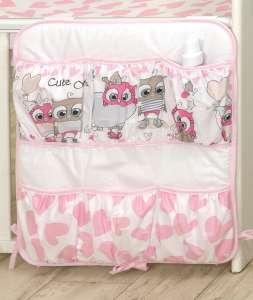 MamaKiddies Baby Bear Zsebes tároló - Bagoly #rózsaszín-fehér 30401682