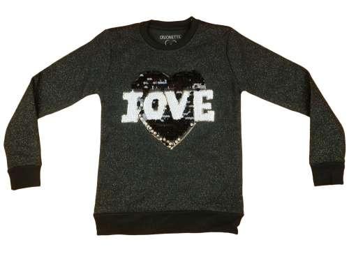 Lányka csillámos pulóver Love #fekete
