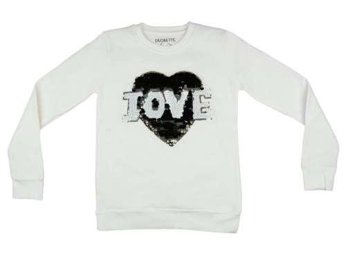 Lányka csillámos pulóver Love #fehér