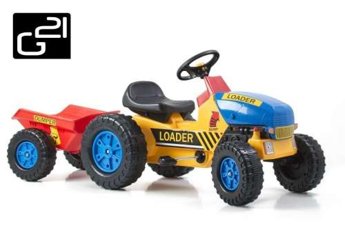 Traktor G21 Classic utánfutóval #sárga-kék