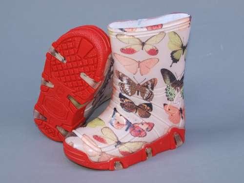 Gumicsizma - Pillangó #piros-rózsaszín