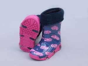 Zetpol bélelt Gumicsizma - Virág #kék-rózsaszín 30436659 Gyerek csizma