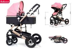 Belecoo Luxury 2:1 Babakocsi #rózsaszín-fekete 30439197