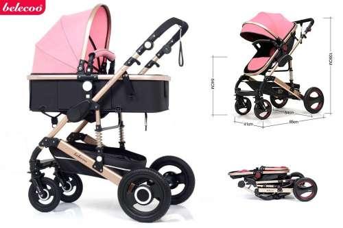 Belecoo Luxury 2:1 Babakocsi #rózsaszín-fekete