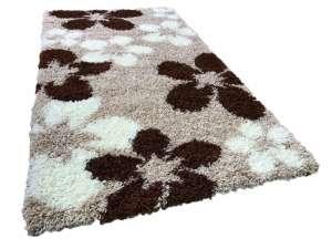 Shaggy bézs virág mintás szőnyeg szett 1 db 60x220 cm és 2 db 60x110 cm 30439791 Szőnyeg gyerekszobába