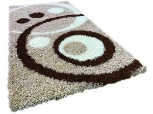 Shaggy Adriana bézs-fehér-barna szőnyeg szett 1 db 60x220 cm és 2 db 60x110 cm 30439853 Szőnyeg gyerekszobába