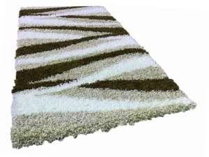 Shaggy barna-bézs-fehér szőnyeg szett 1 db 60x220 cm és 2 db 60x110 cm 30440008 Szőnyeg gyerekszobába