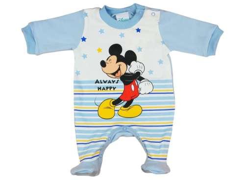 Disney Mickey hosszú ujjú, vállon patentos fiú Rugdalózó csíkos 62