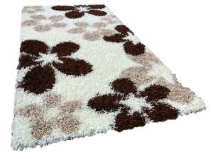 Shaggy virág mintás Szőnyeg 80x150cm #bézs-fehér 30496019