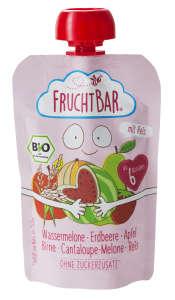FRUCHTBAR BIO cukor-és gluténmentes Dinnye, eper, alma 6hó/100g ~ 16 db 30497668 Bébiétel, snack