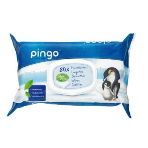 Pingo ökológiailag eldobható nedves törlőkendő (ökó) 80 db