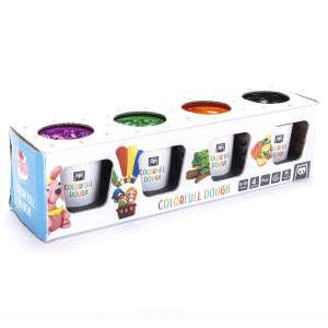 Gyurma készlet - 4 szín (lila, zöld, narancssárga, fekete) 30631624 Gyurma