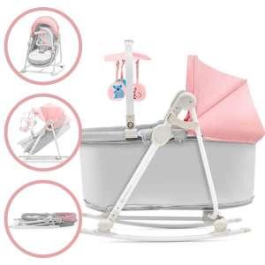 Kinderkraft Unimo 5in1 Pihenőszék #rózsaszín-szürke 31486895 3 pontos biztonsági öv