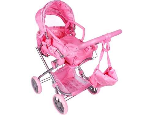 Játék babakocsi táskával #rózsaszín
