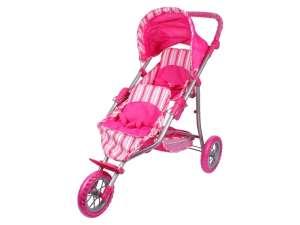 Háromkerekű Játék iker babakocsi #rózsaszín 31038133 Játék babakocsi