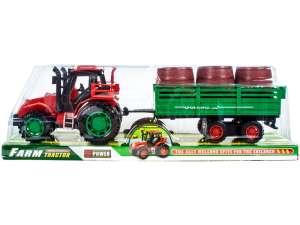 Játék Traktor utánfutóval 30cm #zöld-piros