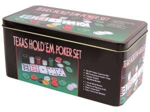 Póker készlet fémdobozban 200 darab zsetonnal 31023924 Kártyajáték