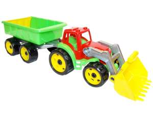 Műanyag traktor utánfutóval - 65cm