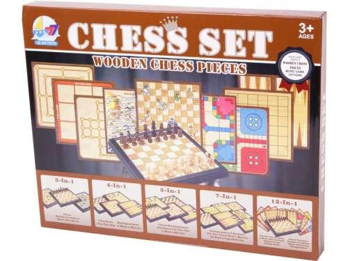 5in1 fa sakk és Társasjáték készlet